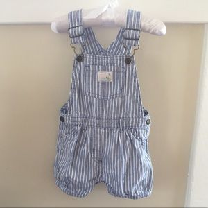 Baby Girl Blue & White Stripe Bubble Shortalls